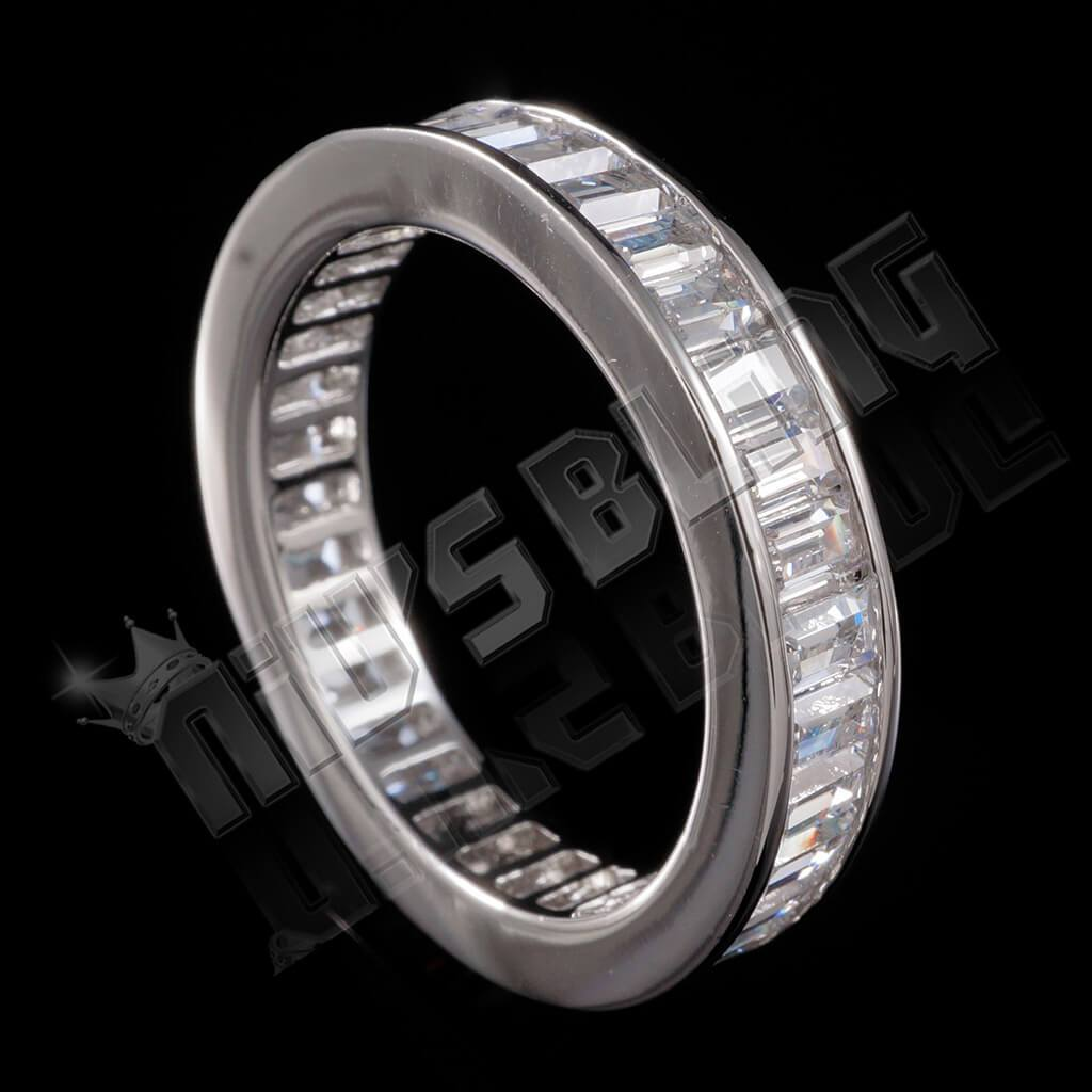Affordable 18K White Gold Baguette Cut Eternity Ring - Back View