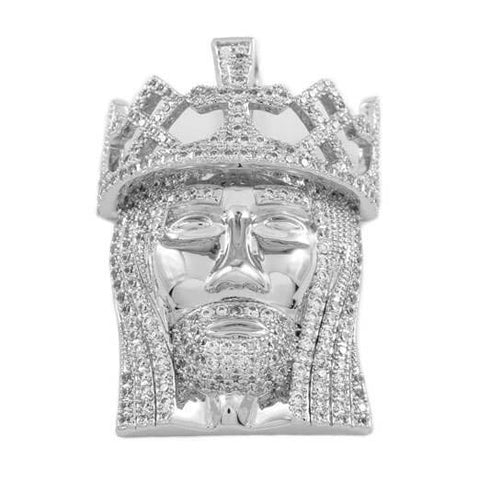 Affordable 18K White Gold Crowned Jesus Piece with Rope Hip Hop Chain - Pendant Front View