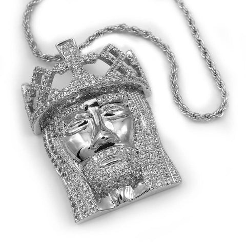 Affordable 18K White Gold Crowned Jesus Piece with Rope Hip Hop Chain - White Background