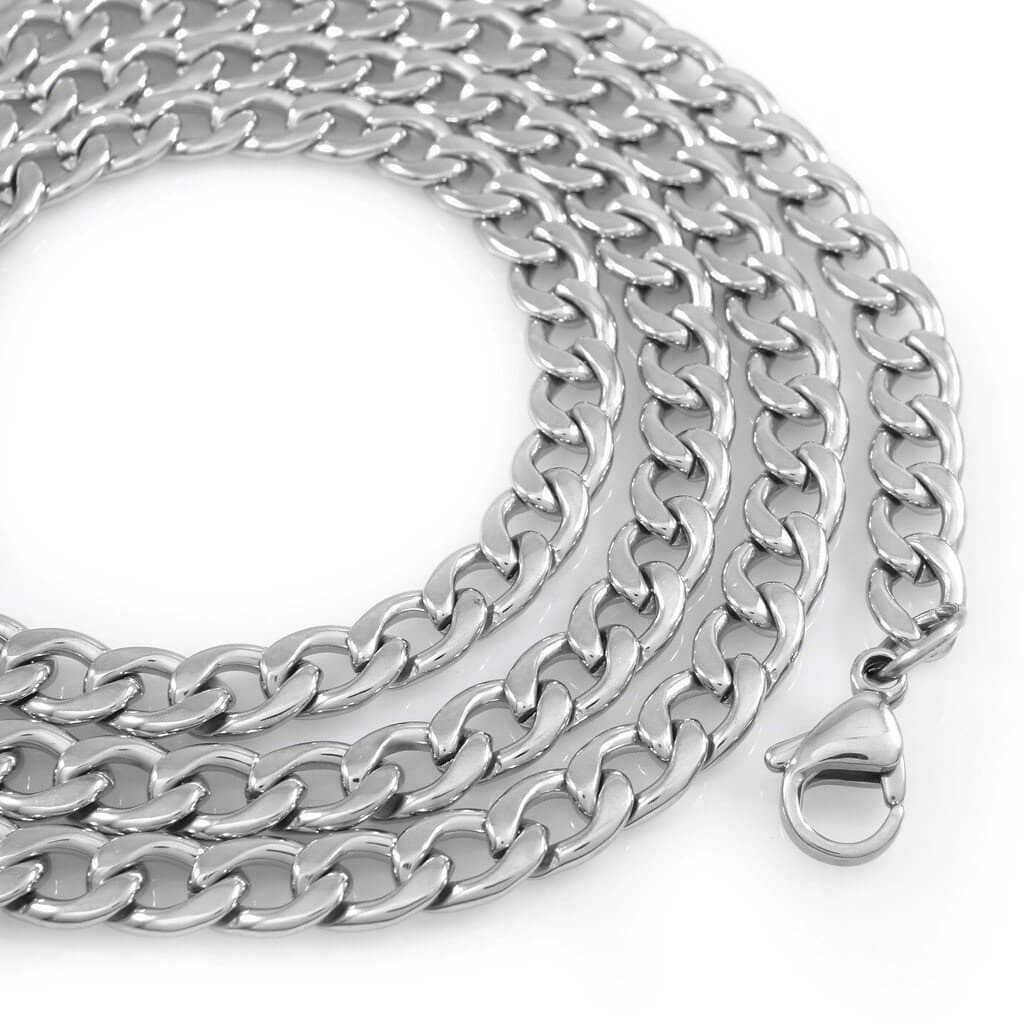 18K White Gold Cuban Link Chain