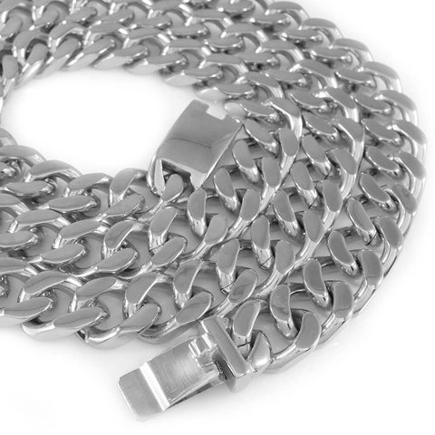 Affordable 18K White Gold Cuban Miami Hip Hop Chain Link Stainless Steel - White Background