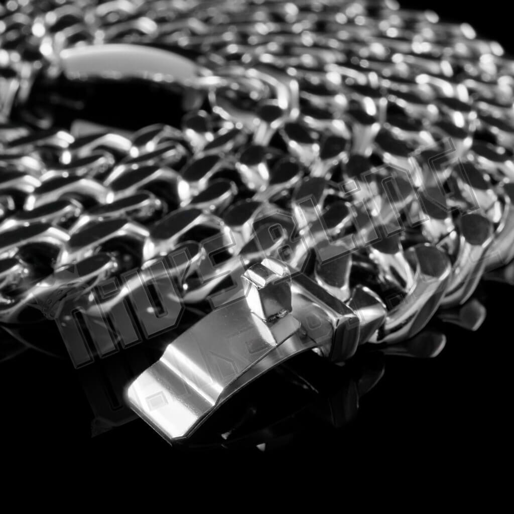 18K White Gold Cuban Miami Chain Link Stainless Steel