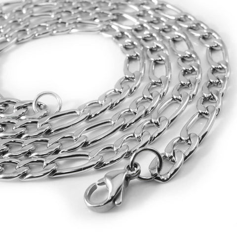 Affordable 18K White Gold Figaro Hip Hop Chain - White Background