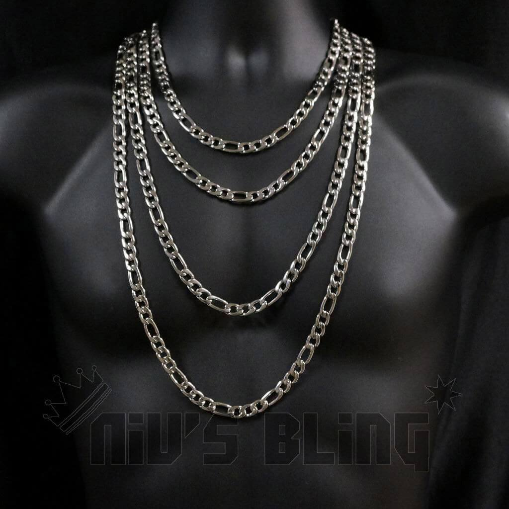 18K IP Silver White Gold Miami Cuban Chain 316L Stainless Steel Curb Necklace
