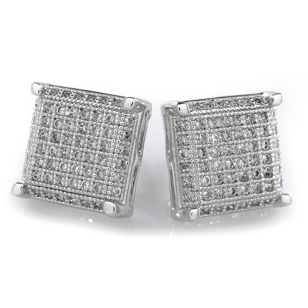 18K White Gold Framed Square Stud Earrings
