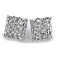 Affordable 18K White Gold Framed Square Stud Hip Hop Earrings - White Background
