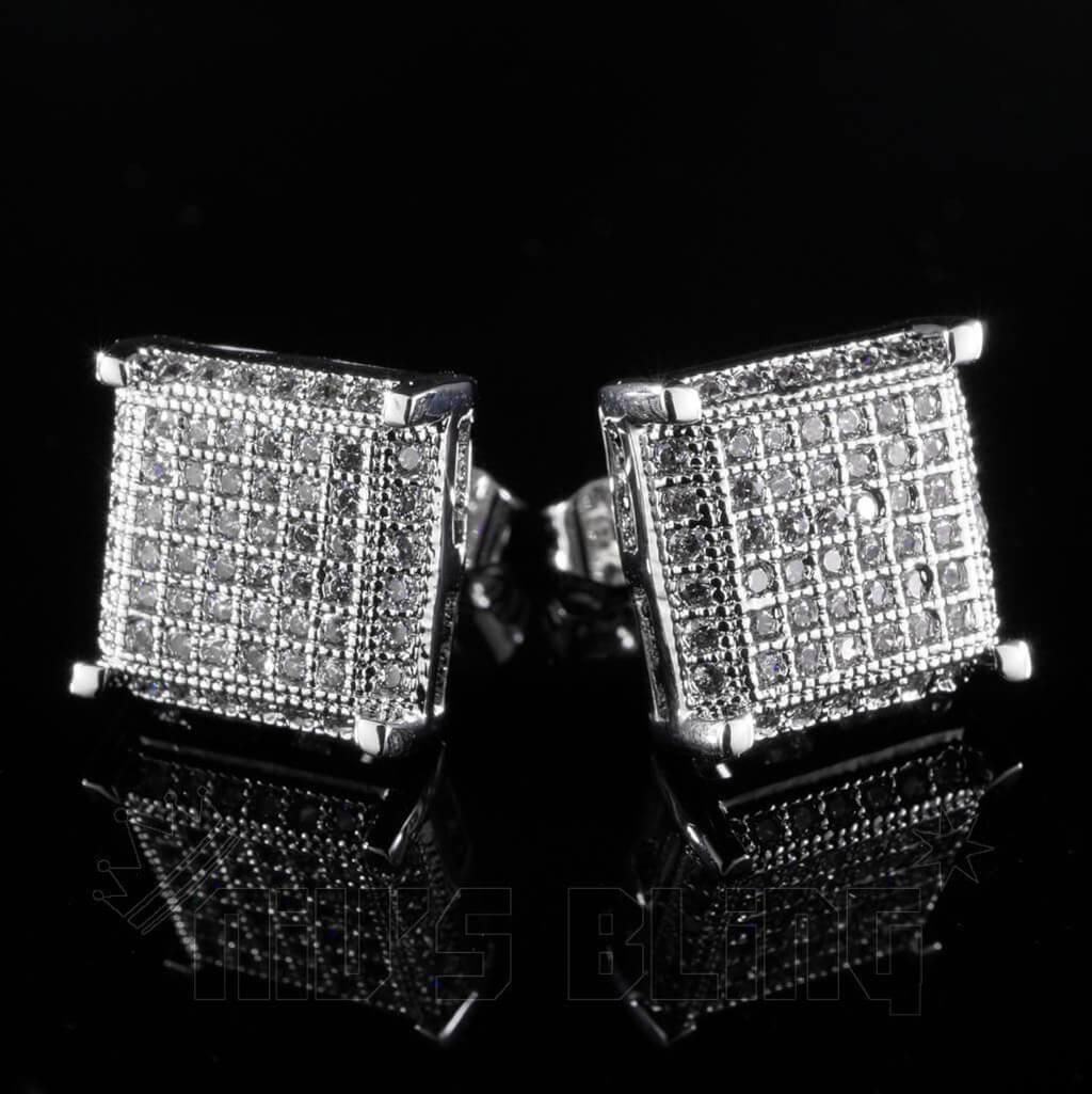 Affordable 18K White Gold Framed Square Stud Hip Hop Earrings - Black Background