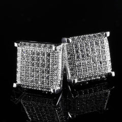 Affordable 18K White Gold Framed Square Stud Hip Hop Earrings - Side View