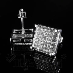 Affordable 18K White Gold Framed Square Stud Hip Hop Earrings - Front and Back View