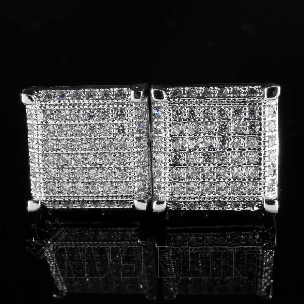 Affordable 18K White Gold Framed Square Stud Hip Hop Earrings - Front View