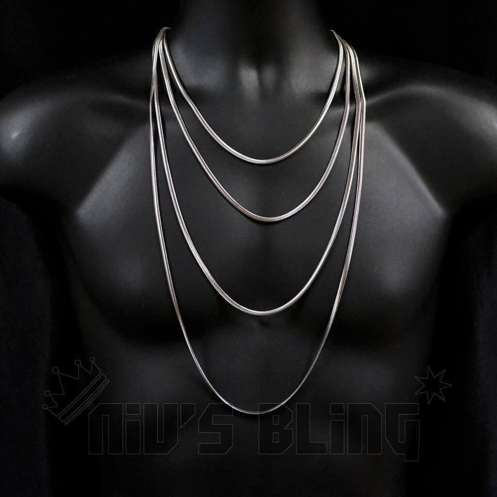 Affordable 18K White Gold Herringbone Snake Hip Hop Chain - 4mm On Mannequin