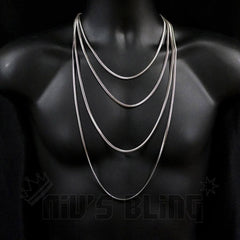 18K White Gold Herringbone Snake Chain