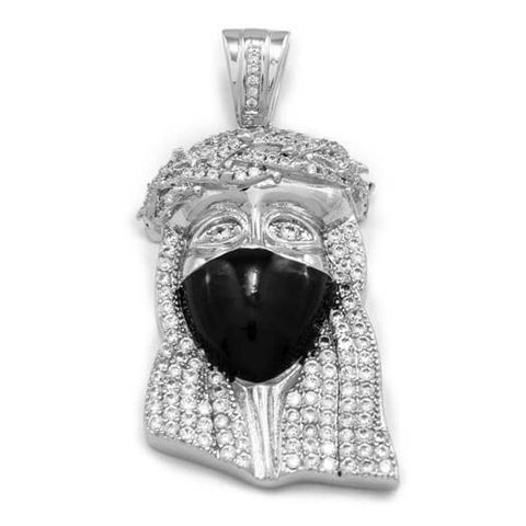 18K White Gold Iced Out Bandana Jesus Piece With Rope Chain