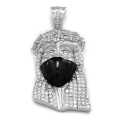 Affordable 18K White Gold Iced Out Bandana Jesus Piece With Hip Hop Chain - Front View