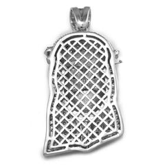 Affordable 18K White Gold Iced Out Bandana Jesus Piece With Hip Hop Chain - Back View