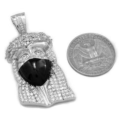 Affordable 18K White Gold Iced Out Bandana Jesus Piece With Hip Hop Chain - Coin Comparison