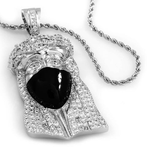 18K White Gold Iced Bandana Jesus Piece With Rope Chain