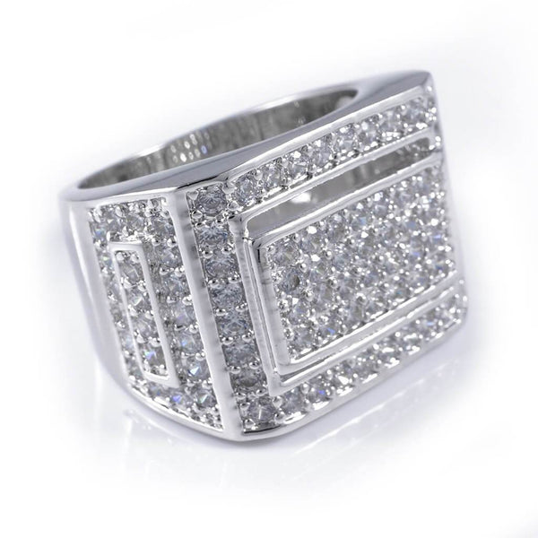 18k White Gold Iced Out Championship Pinky Ring Niv S Bling