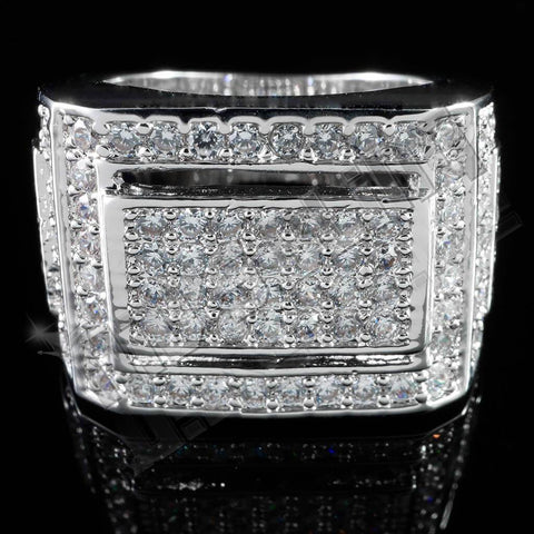 Affordable 18K White Gold Iced Out Championship Pinky Hip Hop Ring - Front View
