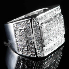 18K White Gold Iced Championship Pinky Ring