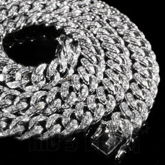 Affordable 18K White Gold Iced Out Cuban Hip Hop Chain - Close up