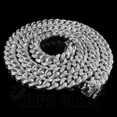 Affordable 18K White Gold Iced Out Cuban Hip Hop Chain - Whole View