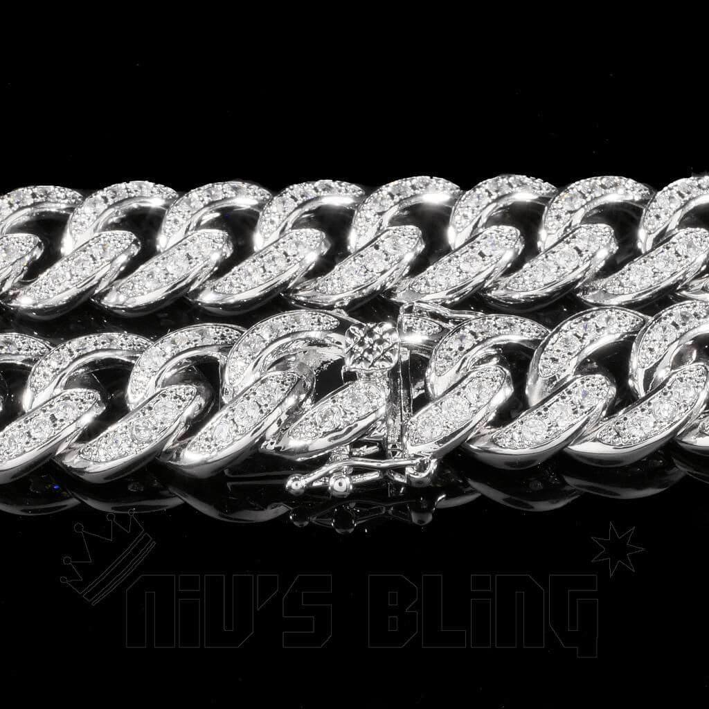 Affordable 18K White Gold Iced Out Cuban Hip Hop Chain - Side View with Closed Tongue and Safety Clasp