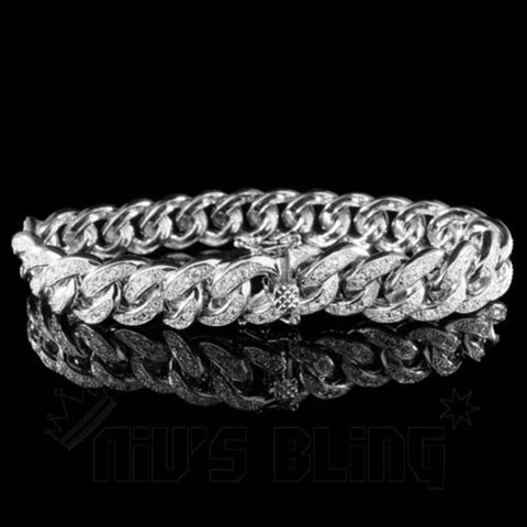 18K White Gold Iced Out Cuban Link Bracelet