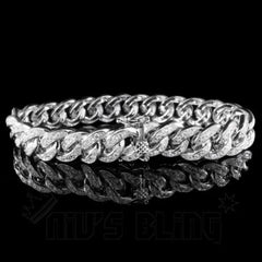 Affordable 18K White Gold Iced Out Cuban Link Hip Hop Bracelet - Front View