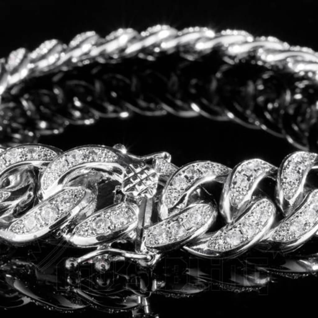 Affordable 18K White Gold Iced Out Cuban Link Hip Hop Bracelet - Side View with Closed Box Clasp