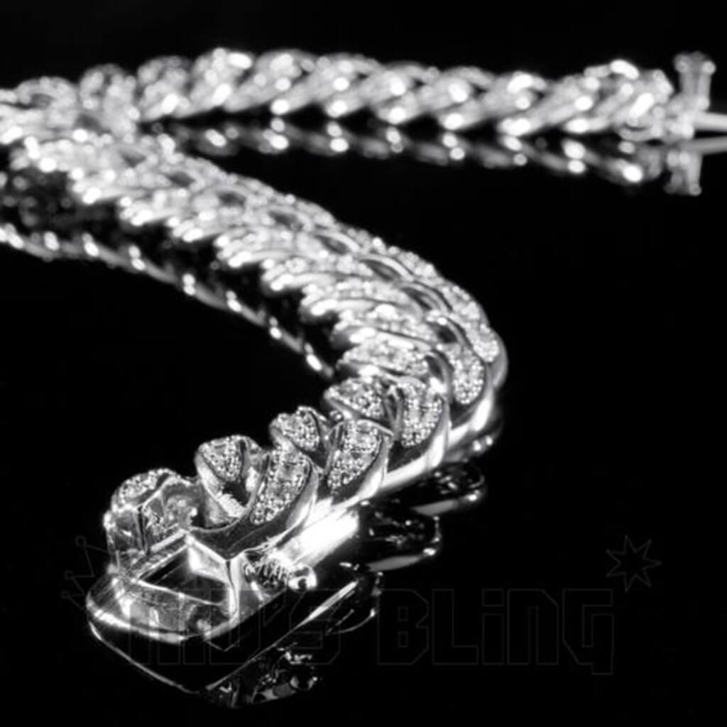 Affordable 18K White Gold Iced Out Cuban Link Hip Hop Bracelet - Side View with Safety Clasp