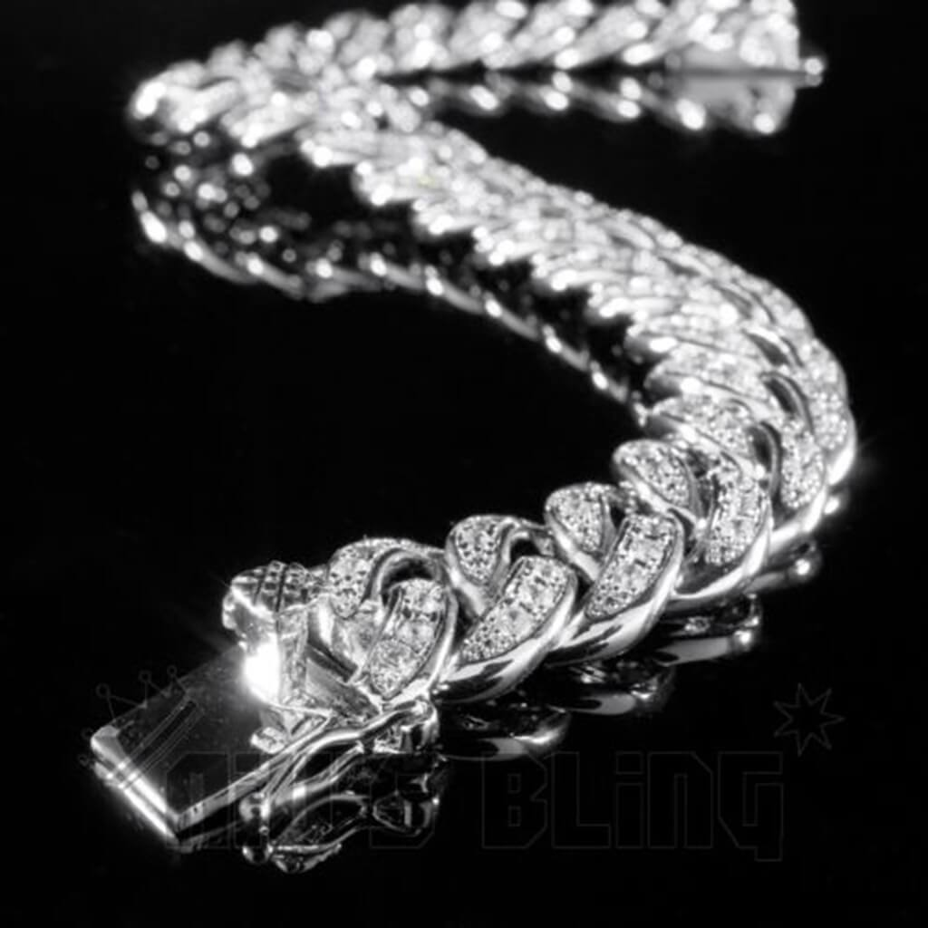 Affordable 18K White Gold Iced Out Cuban Link Hip Hop Bracelet - Side View with Box Clasp