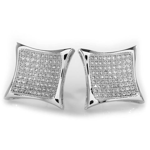 Affordable 18K White Gold Iced Out Curved Square Stud Hip Hop Earrings - White Background