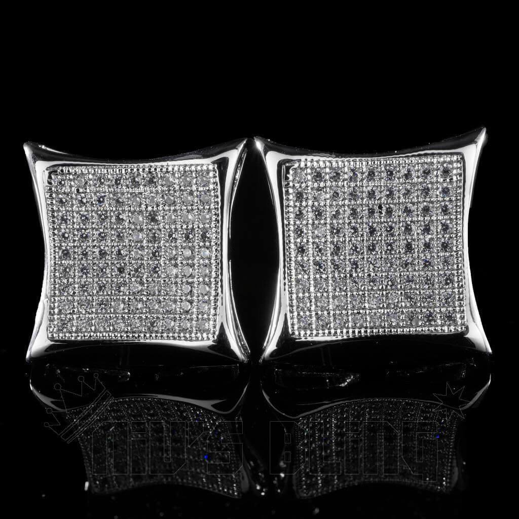 18K White Gold Iced Out Curved Square Stud Earrings