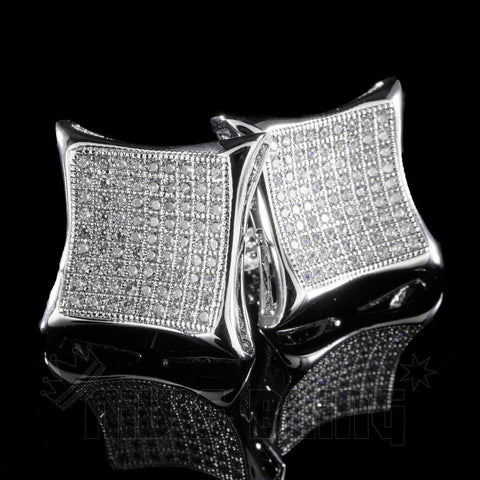 Affordable 18K White Gold Iced Out Curved Square Stud Hip Hop Earrings - Black Background
