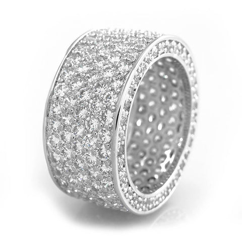 18K White Gold Iced Eternity Wedding Ring