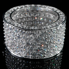18K White Gold Iced Out Eternity Wedding Ring