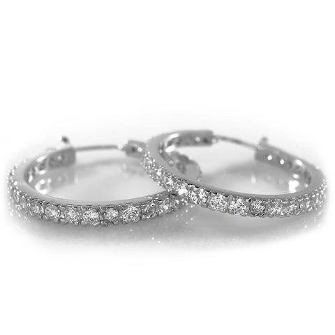 Affordable 18K White Gold Iced Out Hoop Earrings - White Background