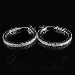 18K White Gold Iced Out Hoop Earrings
