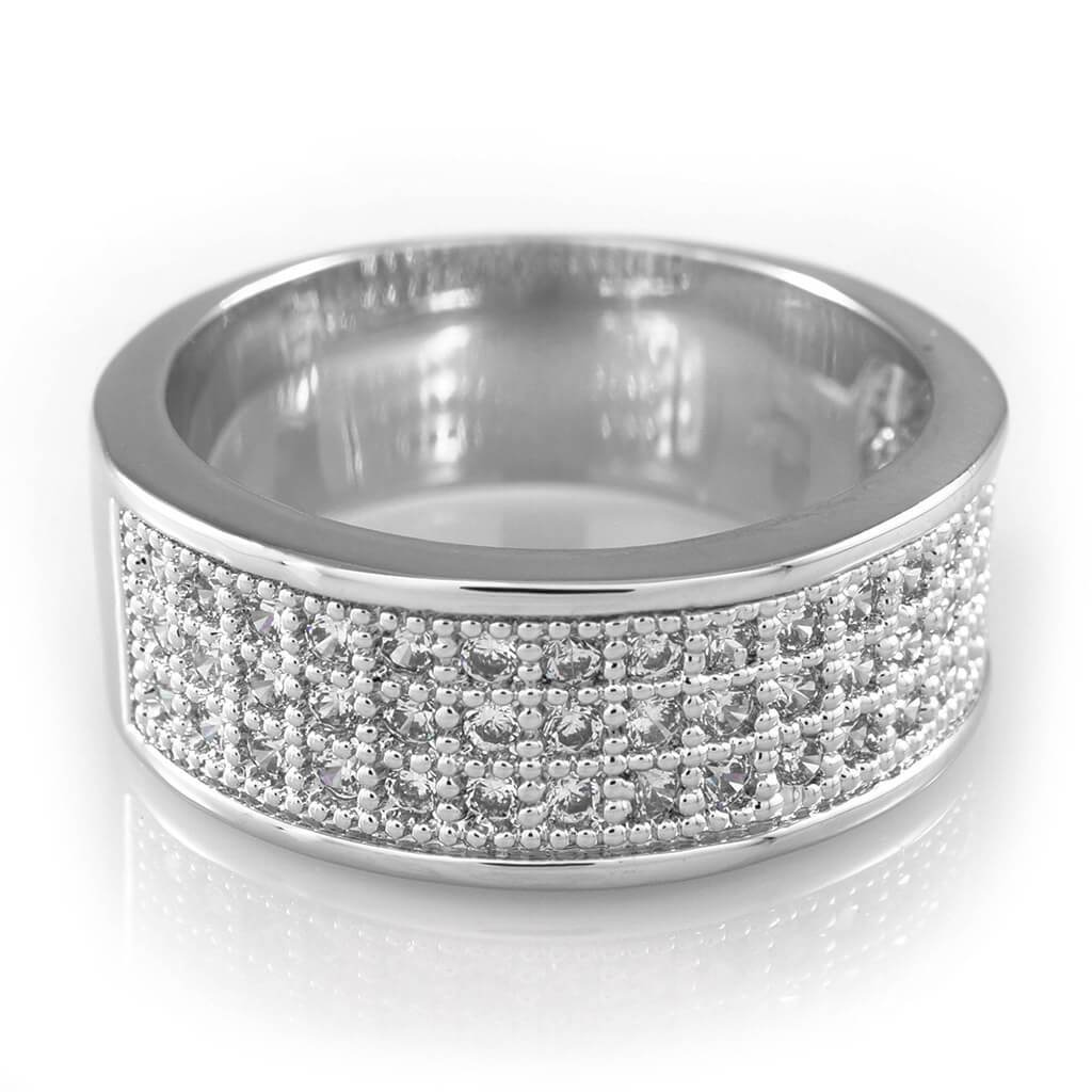 18K White Gold Iced Out Micropave Engagement Pinky Ring