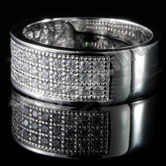Affordable 18K White Gold Iced Out Micropave Engagement Pinky Ring - Left Side View
