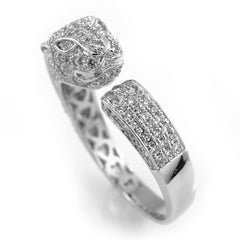 Affordable 18K White Gold Iced Out Panther Jaguar Hip Hop Ring - White Background