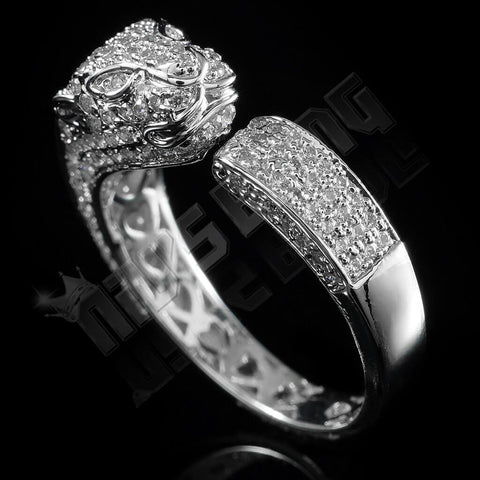 18K White Gold Iced Panther Jaguar Ring