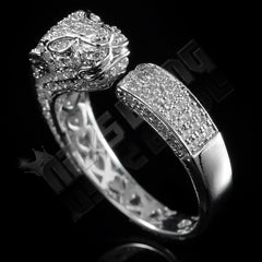 Affordable 18K White Gold Iced Out Panther Jaguar Hip Hop Ring - Black Background