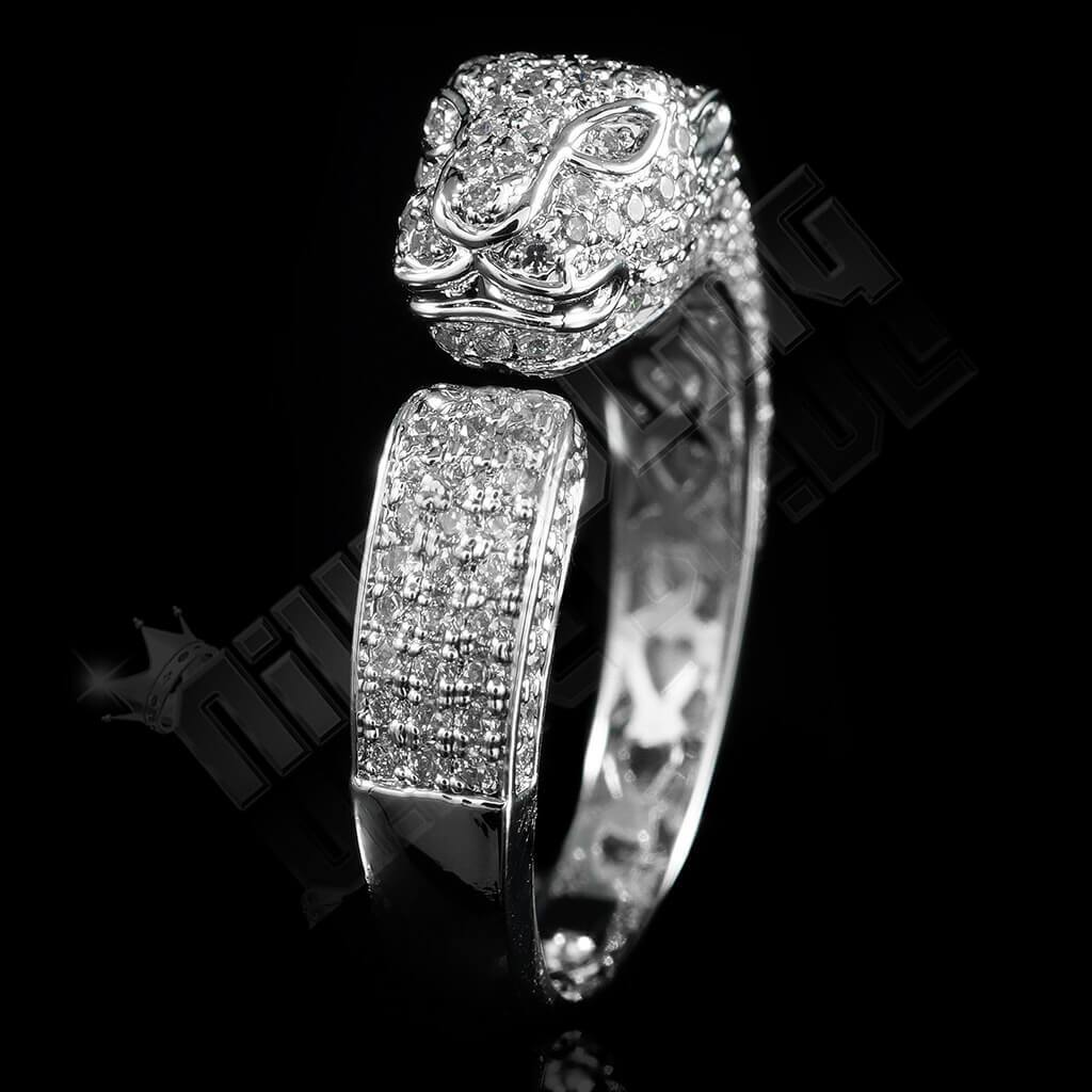 Affordable 18K White Gold Iced Out Panther Jaguar Hip Hop Ring - Front View