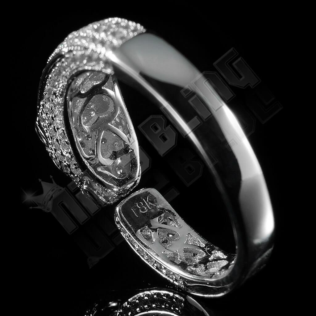 Affordable 18K White Gold Iced Out Panther Jaguar Hip Hop Ring - Back View