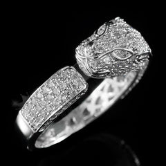 Affordable 18K White Gold Iced Out Panther Jaguar Hip Hop Ring - Side View