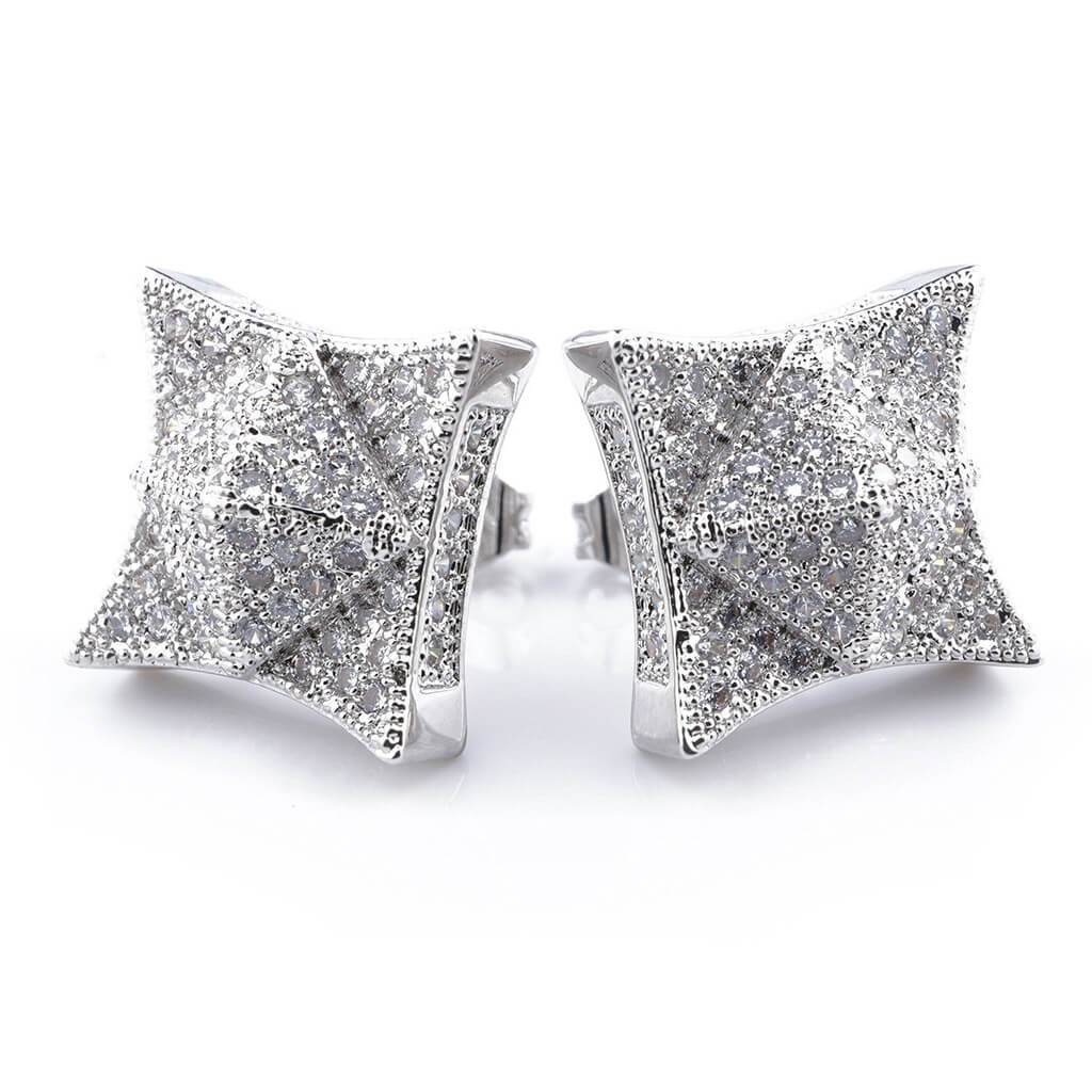 18K White Gold Iced Pyramid Stud Earrings