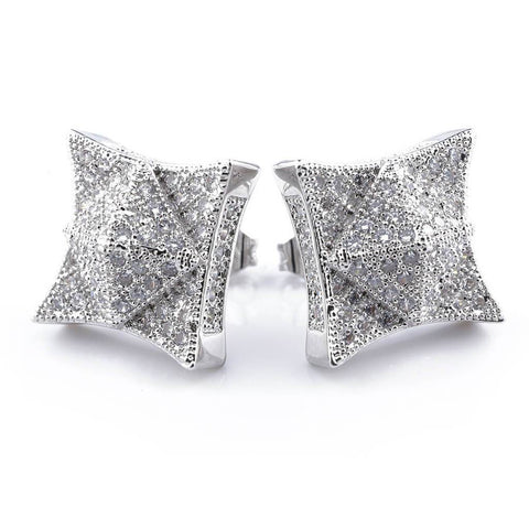 18K White Gold Iced Out Pyramid Stud Earrings