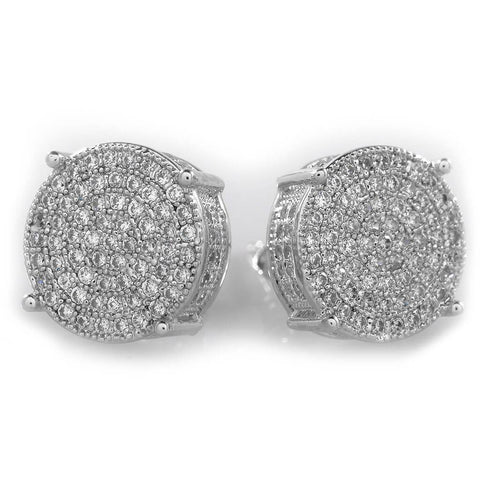 Affordable 18K White Gold Iced Out Round Stud Hip Hop Earrings - White Background